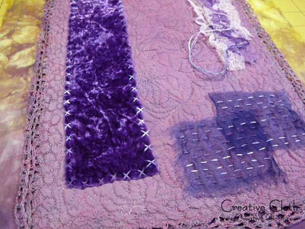 Creative sewing in shades of purple: a little handstitching