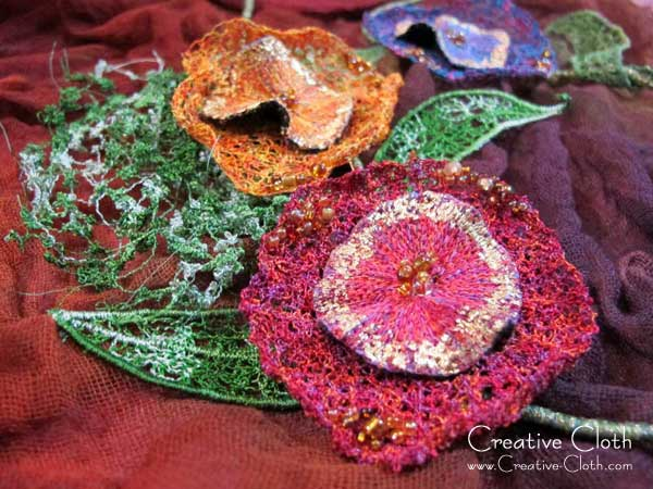 Textile Art: Fabric Buttons and Fabric Flowers