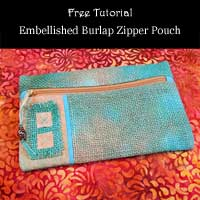 Embellished Burlap Zipper Pouch Tutorial