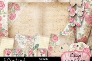 Vintage Lace & Roses Printable Journal Kit