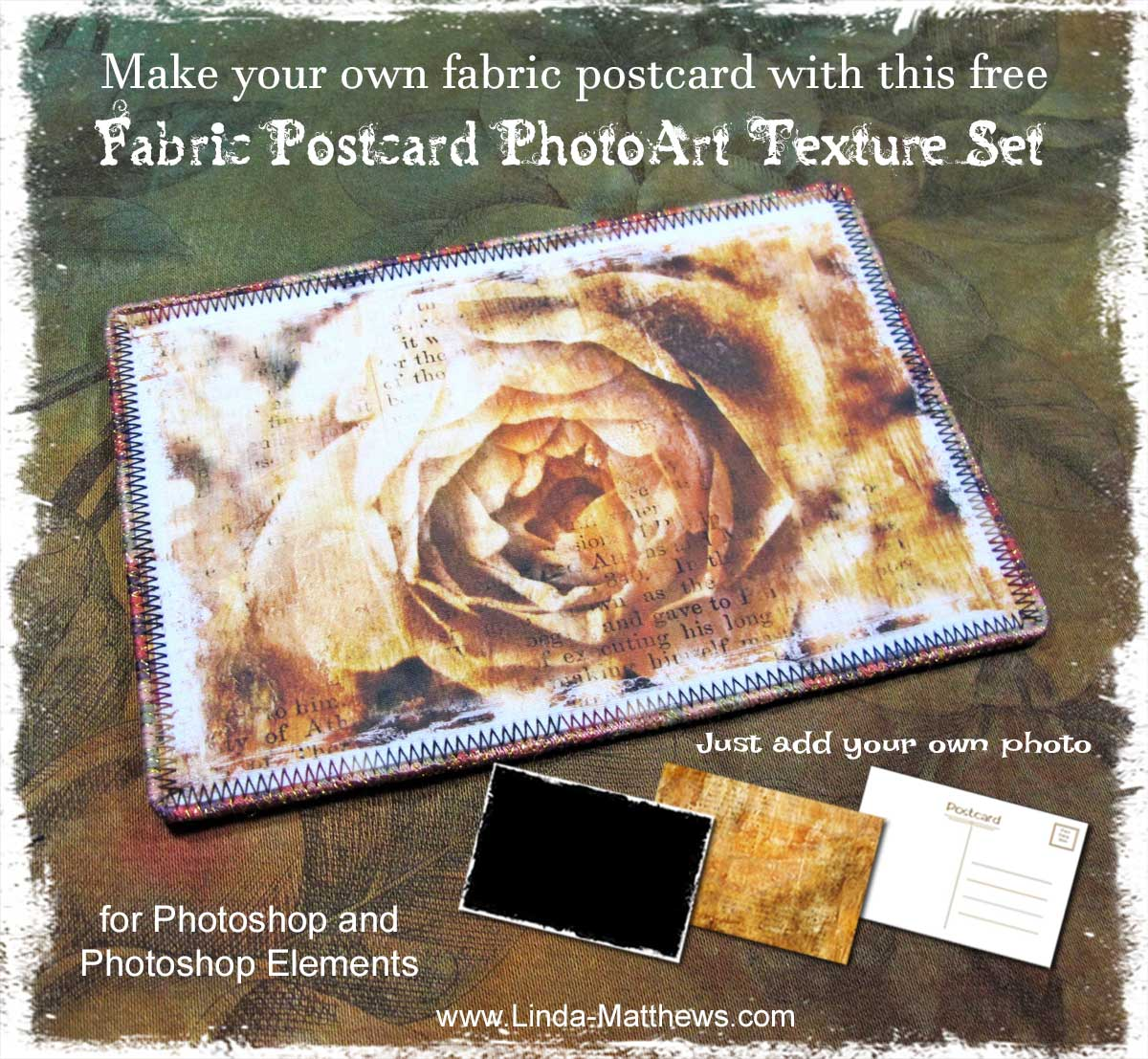 Free Tutorial and Photoshop PhotoArt Texture Set: Make your own Fabric Postcard